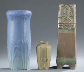 3 Art Pottery vases. c.1900.