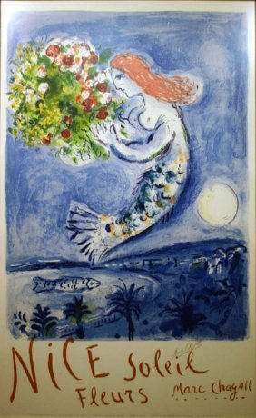 Marc Chagall, ''Bay Of Angels,'' Color Lithograph.