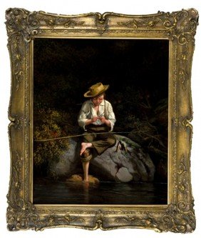 Circle Of George Caleb Bingham. O/c Boy Fishing.