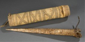 Papua New Guinea Bone Dagger And Carved Drum.