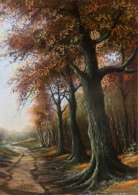 Pastel Of Dirt Path With Trees In Fall Setting.