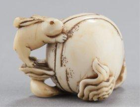 An Ivory Netsuke Of The Lunar Hare.