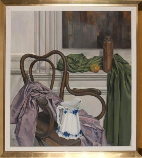 Theophil Groell Oil On Canvas Still Life W/ Chair.