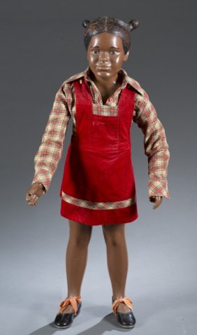 """1950s """"buster Brown"""" Black Mannequin W/ Pig Tails."""