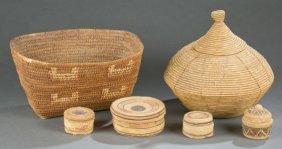 Group Of 6 Northwest Coast Native American Baskets