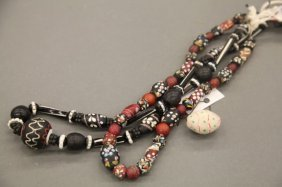 2 Trade Bead Glass Necklaces And 1 Large Bead.