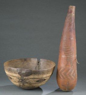 Wooden Bowl And Nzuki Carved Milk Vessel.