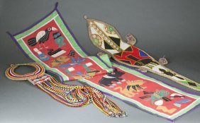 African Cloth And Beaded Items. 20th Century.