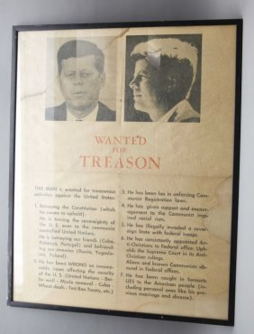 Anti-kennedy Poster: Wanted For Treason.
