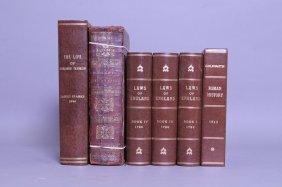 6 Vols Incl 3 Vols Blackstone, Commentaries, 1790