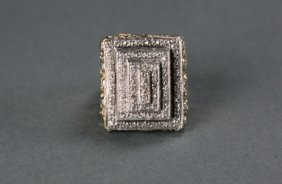 10k Yellow Gold Tiered Square Top Diamond Ring.