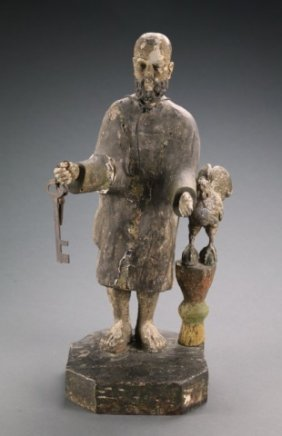 Large Santos Figure Of St. Peter & Crowing Rooster