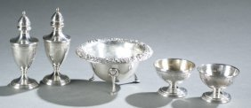 Kirk & Son, 5 Small Sterling Shakers & Bowls.