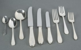 Tiffany Repousse Rose Sterling Flatware 88 Pcs.