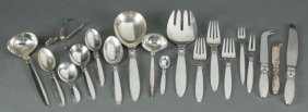 Georg Jensen Cactus Sterling Flatware 113 Pcs.