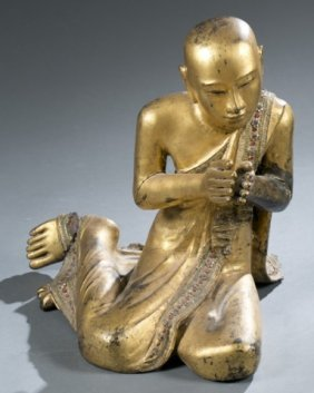 Gilt Burmese Praying Monk Figure.