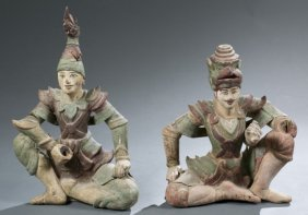 Pair Of Thai Temple Guardian Figures.