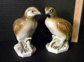 Pair Of German Porcelain Quail