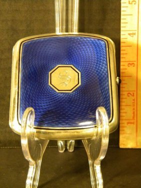 """Sterling And Blue Enamel Cigarette Case With """"s"""""""
