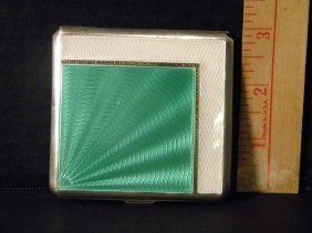 Sterling And White/green Enamel Cigarette Case