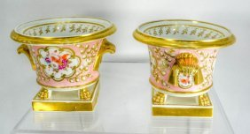 Pair Of 18th Century English Spode Porcelain Cachepots,