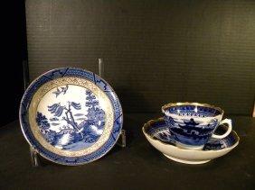 Flow Blue - Bowl, Teacup And Saucer