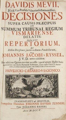 Mevius, David Decisiones Super Causis Praecipuis Ad