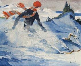 Wiertz, Jupp Christiania - Skiläuferin. Farbiges Plakat