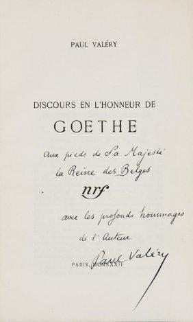 Valery, Paul Discours En L'honneur De Goethe. Paris,