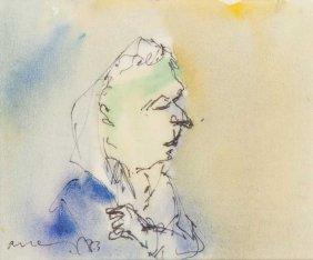 Hennig, Albert Figur Nach Rechts (denkender). 1973.