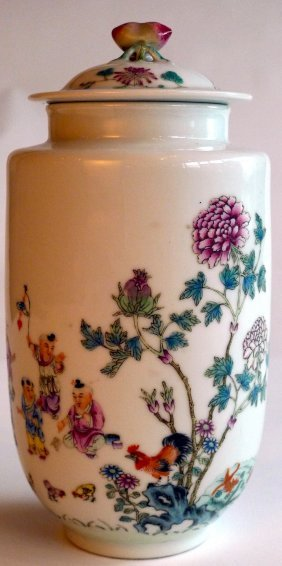 A Late C19th Chinese Enamelled Porcelain Vase And Co
