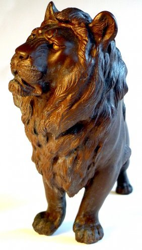 A Late C19th Japanese Bronze Lion With Signature To