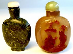 A C19th Chinese Agate Snuff Bottle With Master And