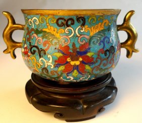 A Chinese Ching Dynasty Cloisonne Multi Coloured Tw