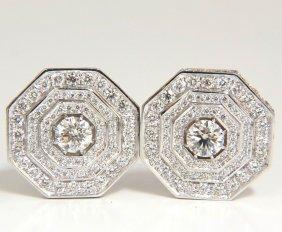 4.00ct Bead Set Architectural Octagonal Step Diamonds