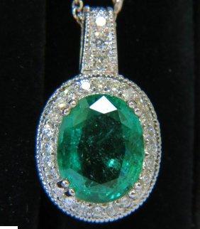 7.15ct Natural Emerald Diamond Pendant & Diamond