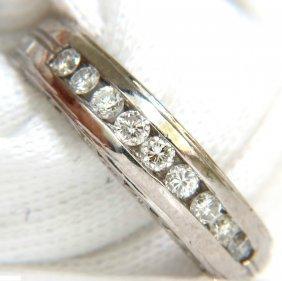 Platinum .75ct. Diamonds Channel Deco Gilt Etched