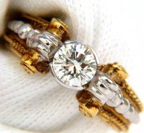 18kt .73ct Round Brilliant Diamond Ring + Venetian