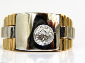 .60ct Natural Diamond Mens Ring Vintage 14kt 2 Toned
