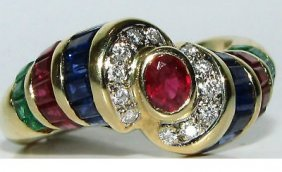 1.00ct Diamonds Emerald Rubies Sapphire Cocktail