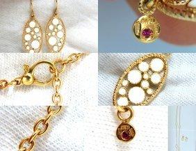 18kt Italy Earrings & Necklace Set 37 Inch Cosmopolitan