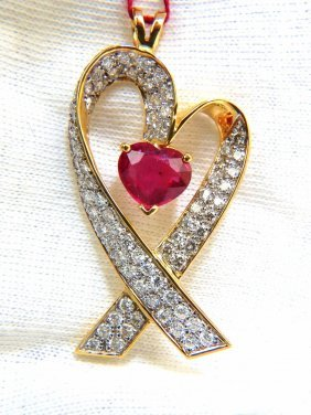 18kt 7.00ct Enhanced Heart Ruby Diamonds Pendant Heart