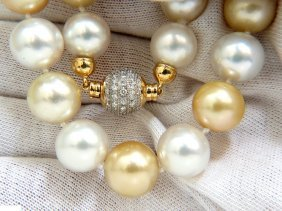 18kt 13.5mm Natural White / Yellow South Seas Pearl