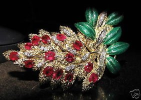 Antique 10.40ct Natural Ruby Diamond Brooch 18kt