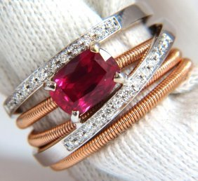 1.86ct Natural Vivid Red Ruby Diamonds Crossover Band