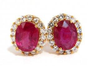 9.00ct Enhanced Red Ruby Diamond Earrings 14kt Cocktail