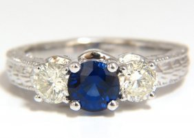 2.14ct Natural Blue Sapphire Diamonds Ring 14kt Classic