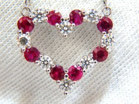 2.90ct Natural Red Ruby Diamond Heart Necklace 14kt