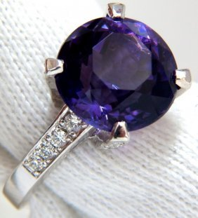 4.90ct Natural Vivid Purple Amethyst Diamond Ring 14kt