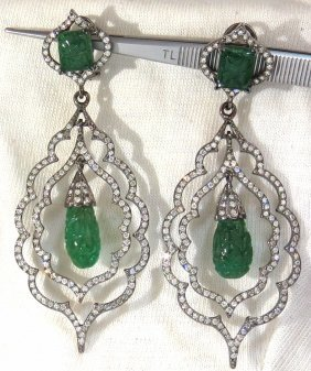29.50ct Natural Carved Emeralds Diamonds Dangling